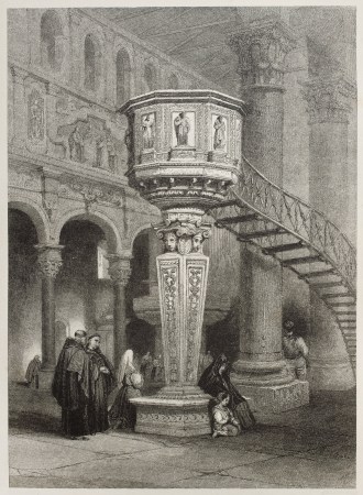 Old illustration of marble pulpit in Messina cathedral, Italy. Created by Leitch and Fresbury, published on Il Mediterraneo Illustrato, Spirito Battelli ed., Florence, Italy, 1841