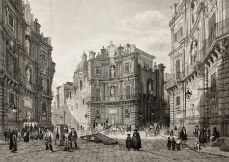 19th: Old illustration of Quattro Cantoni in Palermo, Italy. Original engraving was created by b. Rosaspina and is datable to the first half of 19th c. Editorial
