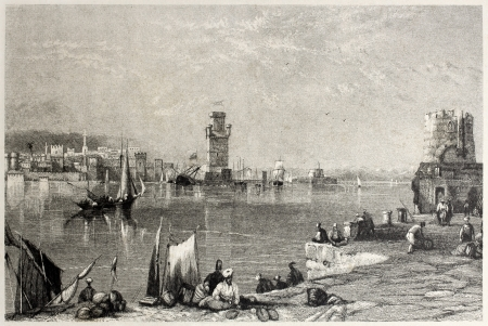 mediterraneo: Old view of Rhode, Greek island. Created by Salmon and Buckle, published on Il Mediterraneo Illustrato, Spirito Battelli ed., Florence, Italy, 1841  Editorial