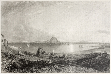 african ancestry: Old illustration of the ruins of Carthage, Tunisia. Created by Salmon and Adlard, published on Il Mediterraneo Illustrato, Spirito Battelli ed., Florence, Italy, 1841
