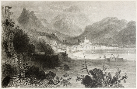 mediterraneo: Old illustration of Salerno town and port. Created by Bartlett and Capone, published on Il Mediterraneo Illustrato, Spirito Battelli ed., Florence, Italy, 1841