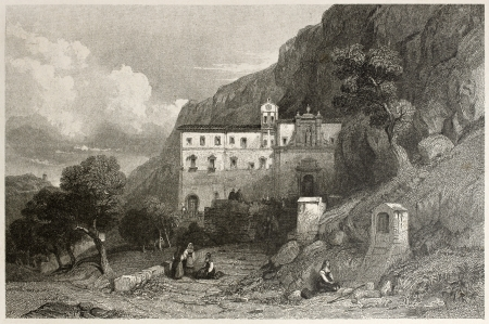 Old illustration of chapel of Santa Rosalia, Mount Pellegrino, Palermo, Italy. Created by Leitch and Capone, published on Il Mediterraneo Illustrato, Spirito Battelli ed., Florence, Italy, 1841 Stock Photo - 14986476