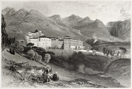 Old view of San Martino convent, near Palermo, Italy. Created by Leitch and Stephenson, published on Il Mediterraneo Illustrato, Spirito Battelli ed., Florence, Italy, 1841 Stock Photo - 14986472