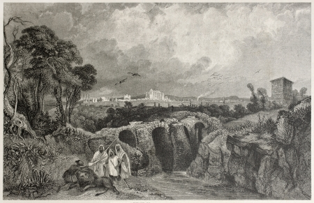 lacey: Old illustration of Sbeitla Roman ruins (the ancient Sufetula), Tunisia. Created by Bentley and Lacey, published on Il Mediterraneo Illustrato, Spirito Battelli ed., Florence, Italy, 1841