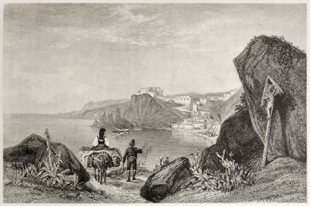 Old view of Scilla, Calabria, Italy. Created by Aylmer and Cooke, published on Il Mediterraneo Illustrato, Spirito Battelli ed., Florence, Italy, 1841