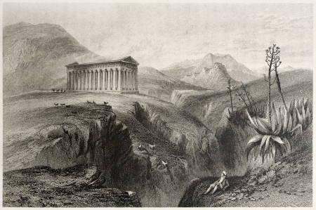 Old view of Segesta temple, Sicily, Italy. Created by Leitch and Sands, published on Il Mediterraneo Illustrato, Spirito Battelli ed., Florence, Italy, 1841