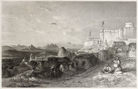 challis: Old view of Sicca Veneria, ancient Roman city at El Kef, Tunisia. Created by Allom and Challis, published on Il Mediterraneo Illustrato, Spirito Battelli ed., Florence, Italy, 1841 Editorial