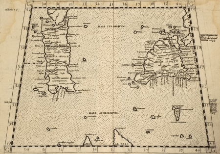 Sicily and Sardinia old map from old atlas. Datable to second half of 16th c.