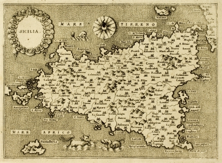 approximately: Sicily old map, may be approximately dated to the XVII sec.