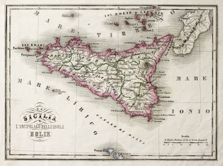 An old map of Sicily and little islands around it. The original map was published in Italy in 1860, in Marmocchi Atlasand was created by G. Bonatti