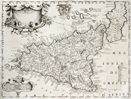 An old map of Sicily , the original was created by V.M. Coronelli and was published in Venice in 1696