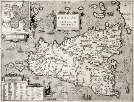 Antique map of Sicily with Syracuse detail. The original was created by Abraham Ortelius and published in 1601 within  �Theatrum Orbis Terrarum� (Theatre of the World), the first true modern atlas
