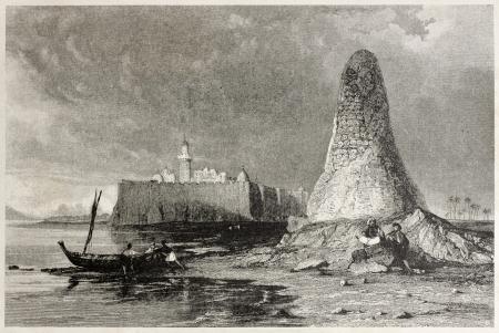 grisly: Old illustration of Skull tower in Djerba island, Tunisia. Created by Allom and Benjamin, published on Il Mediterraneo Illustrato, Spirito Battelli ed., Florence, Italy, 1841 Editorial