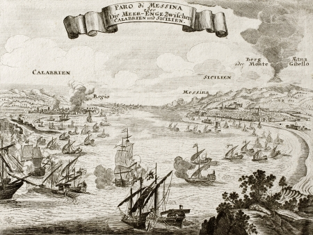 An old illustration of Strait of Messina, between Italian peninsula ans Sicily. The original engraving was created by Gabriel Bodenehr, a german map maker who was born in 1673 and died in 1765 Stock Photo - 14986588