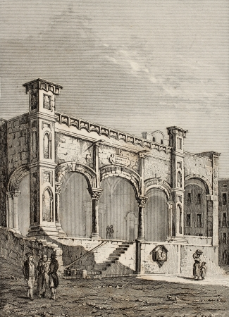 Antique illustration of St. Maria della Catena church entrance in Palermo, Italy. The original engraving was created by Lenormand e Lamargue and may be dated to the half of 19th c.