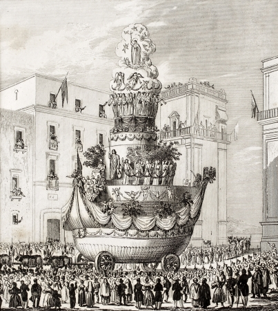 chariot: Antique illustration of  triumphal chariot, during the celebrations in honour of St. Rosalia, the patron saint of Palermo, Italy. The engraving was published in 1840