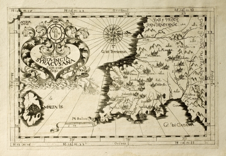 Old map of Capuchins province of Syracuse in Sicily. The map may be dated to the 17th c. and includes also Malta island Stock Photo - 14986468