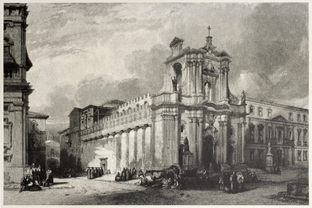 Old view of Syracuse cathedral, Sicily, Italy. Created by Leitch and Tingle, published on Il Mediterraneo Illustrato, Spirito Battelli ed., Florence, Italy, 1841  Stock Photo - 14986533