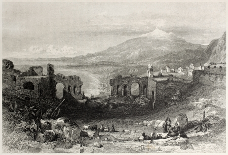 mediterraneo: Old view of Taormina Theatre with Etna volcano in background, Sicily, Italy. Created by Leitch and Adlard, published on Il Mediterraneo Illustrato, Spirito Battelli ed., Florence, Italy, 1841