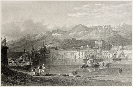 Old illustration of the port of Messina, Sicily, Italy.  Created by Leitch and Benjamin, published on Il Mediterraneo Illustrato, Spirito Battelli ed., Florence, Italy, 1841