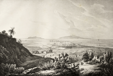 Antique image of Trapani, Sicily, with Aegadean islands in background. The original illustration was created by Gigaute, Marinoni, Cuciniello and Bianchi and may be dated to the first half of the 19th c. Stock Photo - 14986617