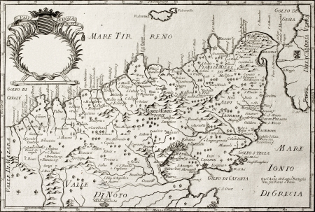 Old map of North-East Sicily. The original map is datable approximately between the end of 17th c. and the beginning of 18th c. and was created by Franciscus Cassianus Da Silva Stock Photo - 14986598