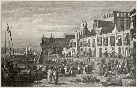 mediterraneo: Old view of Valletta, capital of Malta. Created by Prout and Finden, published on Il Mediterraneo Illustrato, Spirito Battelli ed., Florence, Italy, 1841