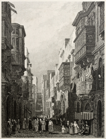 Old view of St. Ursola street in Valletta,  capital of Malta. Created by Prout and Carter, published on Il Mediterraneo Illustrato, Spirito Battelli ed., Florence, Italy, 1841