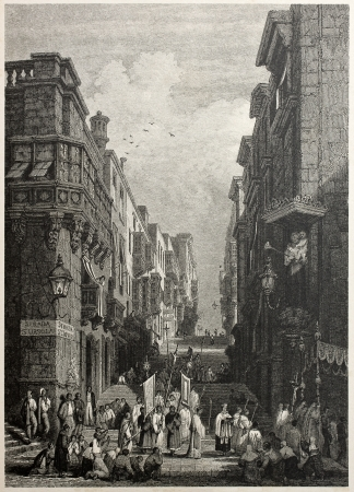 mediterraneo: Old view of St. Giovanni street in Valletta,  capital of Malta. Created by Prout and Challis, published on Il Mediterraneo Illustrato, Spirito Battelli ed., Florence, Italy, 1841