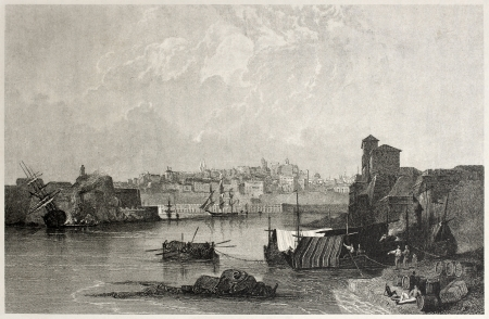 mediterraneo: Old view of Valletta, capital of Malta, from the Marsa Musceit. Created by Dibden and Tingle, published on Il Mediterraneo Illustrato, Spirito Battelli ed., Florence, Italy, 1841  Editorial