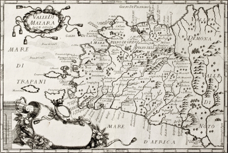 Ol map of West Sicily. The original map is datable approximately between the end of 17th c. and the beginning of 18th c. and was created by Franciscus Cassianus Da Silva
