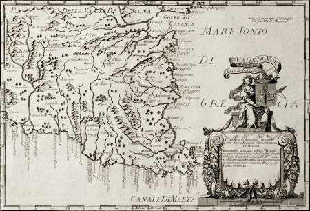 Old map of South-East Sicily.  The original map is datable approximately between the and of 17th c. and the beginning of 18th c. and was created by Franciscus Cassianus Da Silva Stock Photo - 14986543
