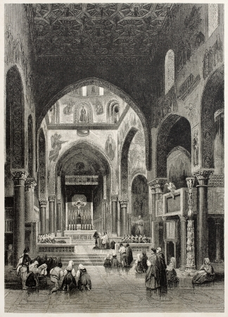 vespers: Old illustration of Vespers in the Royal chapel, Palermo, Italy. Created by Leitch and Capone, published on Il Mediterraneo Illustrato, Spirito Battelli ed., Florence, Italy, 1841 Editorial