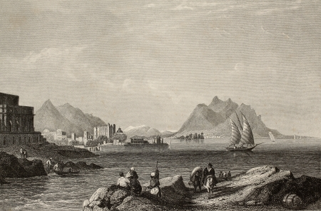 Antique engraving showing a view of Gulf of Palermo, Italy. The original illustration may be dated to the half of 19th c. (Aus d. Kunstanst, d. Bibliogr. Inst in Hildburgh – Eigenthum der Verleger)