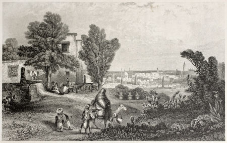 mediterraneo: Old view of Tunis from the Sanneah Eftoor. Created by Bentley and ands, published on Il Mediterraneo Illustrato, Spirito Battelli ed., Florence, Italy, 1841