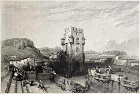 mediterraneo: Old view of Villa Butera, Bagheria, near Palermo, Italy. Created by Leitch and Fresbury, published on Il Mediterraneo Illustrato, Spirito Battelli ed., Florence, Italy, 1841