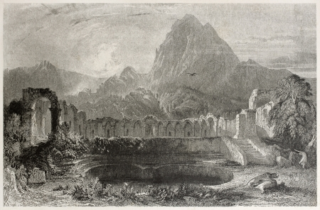 african ancestry: Old illustration of Zaghouan water temple, Tunisia. Created by Greenvile, Temple, Bart and Redaway, published on Il Mediterraneo Illustrato, Spirito Battelli ed., Florence, Italy, 1841