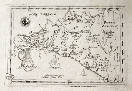 Old map of Capuchins province of Palermo, Sicily. The map may be dated to the 17th c. Stock Photo - 14986504