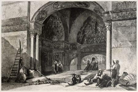 Old illustration of Zisa castle vestibule, Palermo, Italy. Created by Leitch and Tingle, published on Il Mediterraneo Illustrato, Spirito Battelli ed., Florence, Italy, 1841