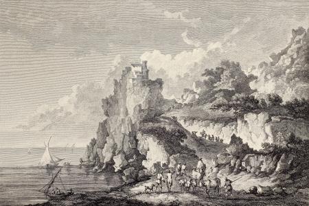 Coast of Sicily under castle at Cape Scaletta. Created by Chatelet and Bretin, published on Voyage Pittoresque de Naples et de Sicilie, by J. C. R. de Saint Non, Imprimerie de Clousier, Paris, 1786