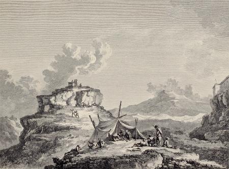 Voir de Cérès roche, près de Enna, Sicile. Créé par Châtelet et Couché, publié le Voyage Pittoresque de Naples et de Sicilie, par JCR de non Saint, Imprimerie de Clousier, Paris, 1786