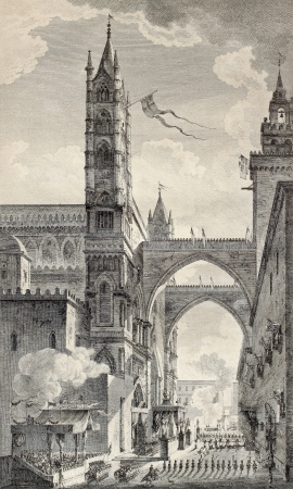 old fashioned sepia: Old illustration of Palermo cathedral arches. By Desprez e Quaurovilliers, published on Voyage Pittoresque de Naples et de Sicilie,  J. C. R. de Saint Non, Imprimerie de Clousier, Paris, 1786