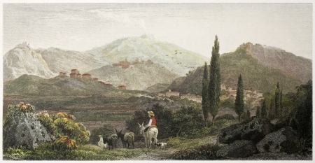 cypress tree: Francavilla old view, Sicily. Created by De Wint and Wallis, printed by McQueen, publ. in London, 1821. Ed. on Sicilian Scenery, Rodwell and Martins, London, 1823 Editorial