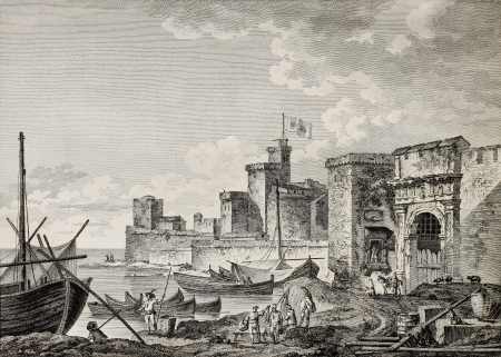 View of Licata port, Sicily. Created by Desprez and De Ghendt, published on Voyage Pittoresque de Naples et de Sicilie, by J. C. R. de Saint Non, Imprimerie de Clousier, Paris, 1786