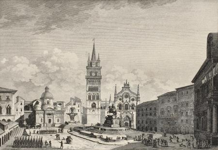 View of Messina Cathedral, then destroyed by earthquake. By Berthault and De Ghendt, published on Voyage Pittoresque de Naples et de Sicilie,  J. C. R. de Saint Non, Impr. de Clousier, Paris, 1786 Stock Photo - 15055327
