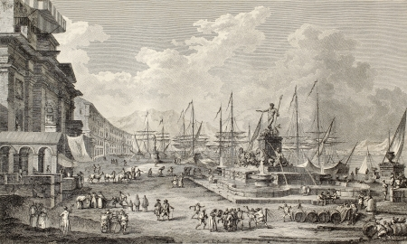 Old illustration of port of Messina. By Desprez, Duplessis-Berteaux and Desquauvilliers, published on Voyage Pittoresque de Naples et de Sicilie,  J. C. R. de Saint Non, Impr. de Clousier, Paris, 1786 Stock Photo - 15055378
