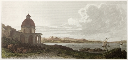 ed: Messina surroundings old view, Sicily. Created by De Wint and Cooke, printed by McQueen, publ. in London, 1821. Ed. on Sicilian Scenery, Rodwell and Martins, London, 1823