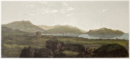 ancestry: Palermo old view from Bagheria, Sicily. Created by De Wint and Wallis, printed by McQueen, publ. in London, 1821. Ed. on Sicilian Scenery, Rodwell and Martins, London, 1823