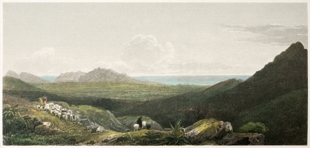 palermo italy: Palermo old view from the road to Falco. Created by De Wint and Askey, printed by McQueen, publ. in London, 1821. Ed. on Sicilian Scenery, Rodwell and Martins, London, 1823