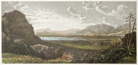 ancestry: Palermo gulf, old view from Favorita gardens. Created by De Wint and Heath, printed by McQueen, publ. in London, 1821. Ed. on Sicilian Scenery, Rodwell and Martins, London, 1823. Editorial